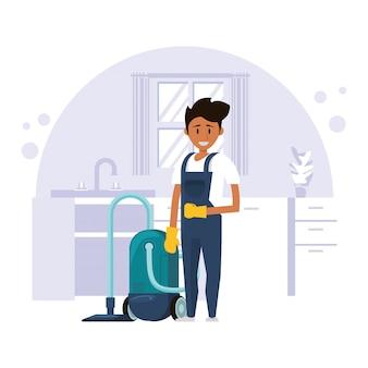 掃除機でハウスケッピングの男性労働者