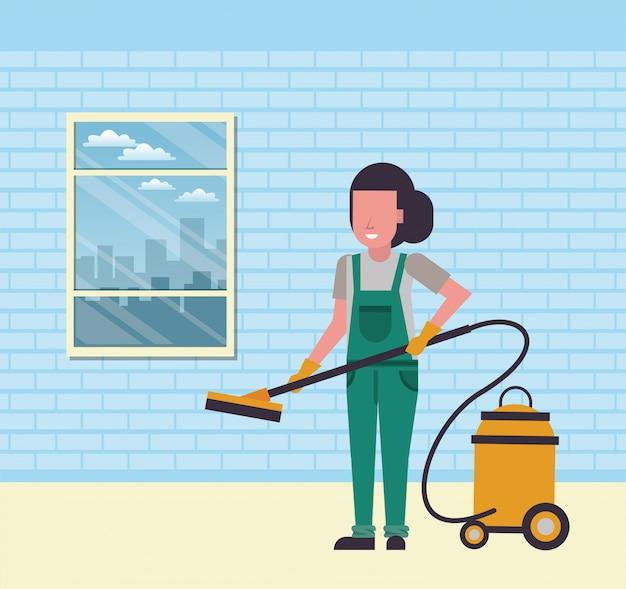 掃除機でハウスキーピング女性労働者