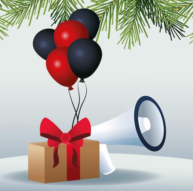 Подарочная коробка, воздушные шары и мегафон над серым