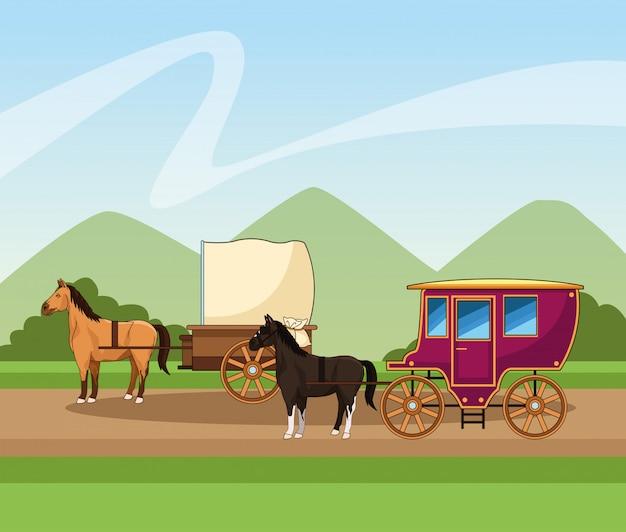 風景の上の馬の古典的な馬車