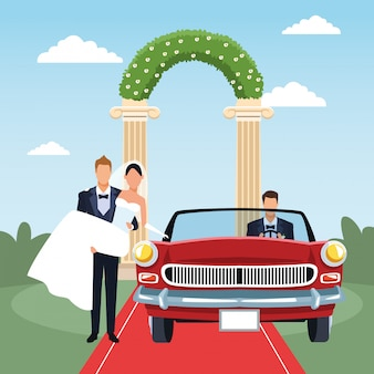 Жених держит невесту на руках и красный классический автомобиль в новобрачных декорации, красочный дизайн