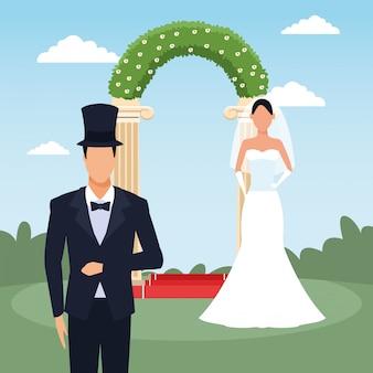 Жених и невеста, стоящие над цветочной аркой и пейзажем