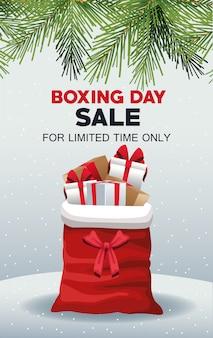 サンタクロースのバッグとギフトのボクシングデー販売ポスター