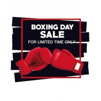 手袋ベクトルイラストデザインとボクシングデーのセールポスター