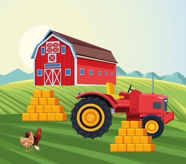 農業の納屋のトラクター積み重ね干し草鶏鶏と鶏のフィールド