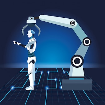 Технология искусственного интеллекта робота-манипулятора киборг машинного производства