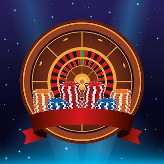 ルーレットとチップスタック賭博ゲームギャンブルカジノバナー