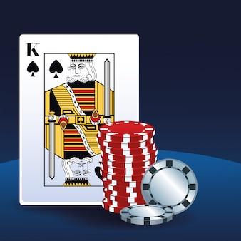 ゲームギャンブルカジノを賭けるポーカーキングカードチップ