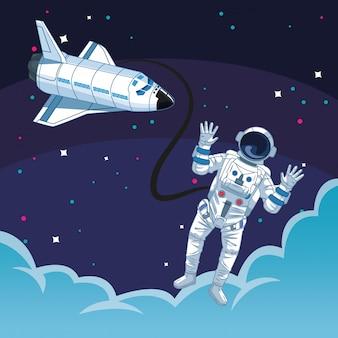 Космонавт за пределами космического корабля облака освоение космоса