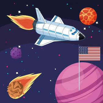 宇宙アメリカ国旗宇宙船小惑星惑星探査