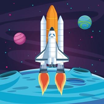 宇宙船の惑星の打ち上げが宇宙探査を開始