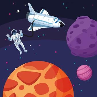 宇宙飛行士の宇宙船月惑星星宇宙探査
