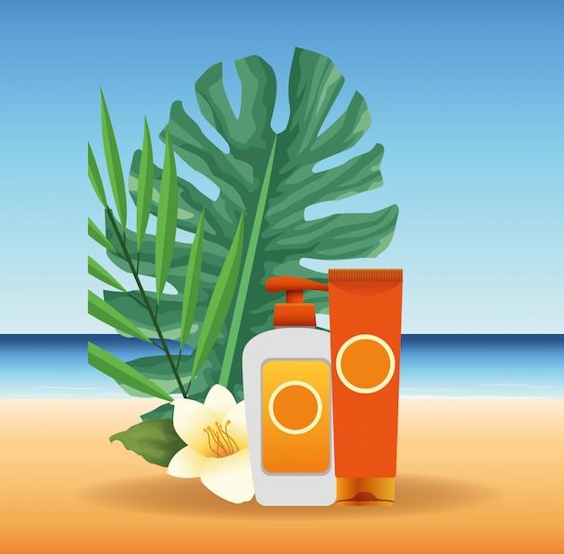 Летнее время на пляжном отдыхе крем для загара бутылки листья цветов экзотика