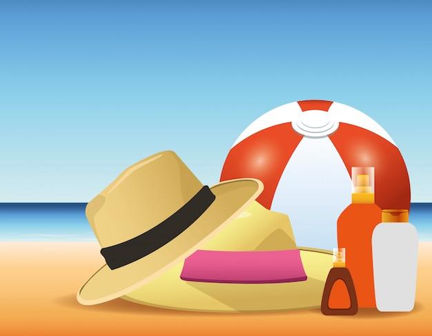 Летнее время в пляжный мяч шляпы солнцезащитные кремы бутылки песок каникулы