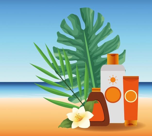 Летнее время на пляжных каникулах солнцезащитный бронзер и крем для загара кремовые листья цветка песок