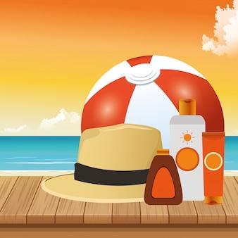 Летний отдых в пляжной мячной шапке кремы по уходу за кожей