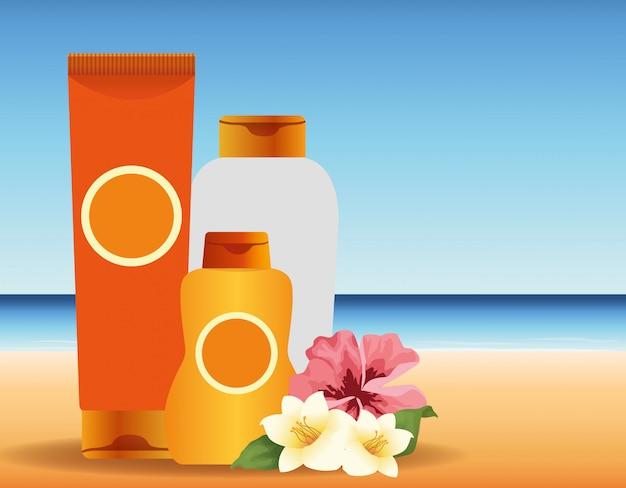 Летнее время на пляжном отдыхе солнце бронзер и крем для загара цветы океан