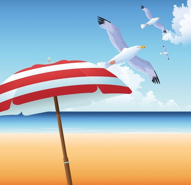 ビーチでの休暇のカモメ傘海砂の夏の時間