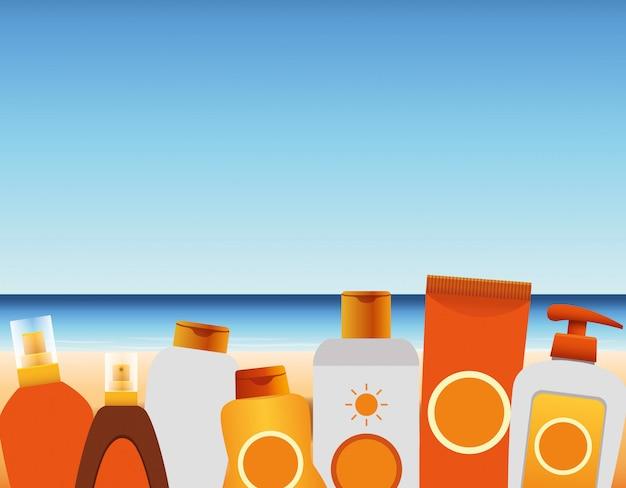 Летнее время на пляжном отдыхе бутылки тюбик крем для загара солнцезащитный крем морской песок
