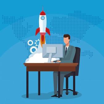 Бизнесмен работает компьютер ракета успех начать бизнес