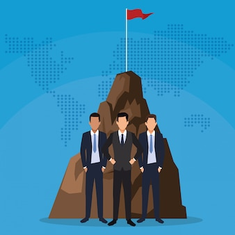 フラグとビジネスマンチームワーク山