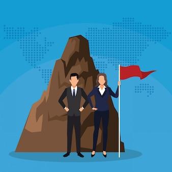 実業家と旗山の実業家
