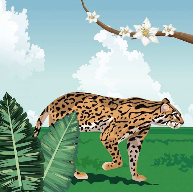 花の熱帯の動物と植物の風景とヒョウの枝