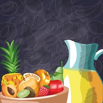 Баночка сока свежих фруктов яблоко ананас груша киви манго