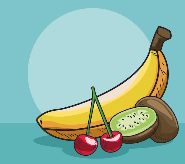 Банановый киви и вишня свежие фрукты