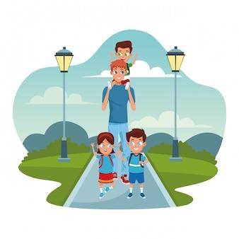 幸せな子供と公園の街灯と白の上を歩く男