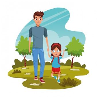 Счастливый человек с дочерью в парке