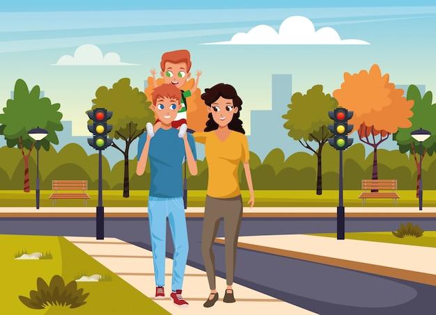 通りで少年と歩いて幸せな家族
