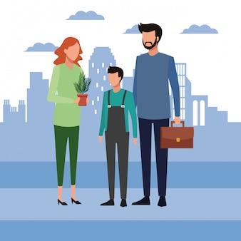 Бизнесмен с подростком и женщина, держащая завод
