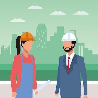 アバターの女性とエンジニアの男が立っています。