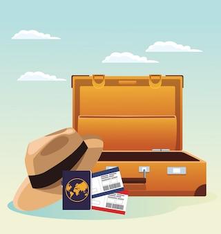 旅行スーツケースと帽子とパスポートとパスボード