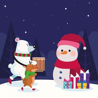 Рождественские животные и снеговик с подарками