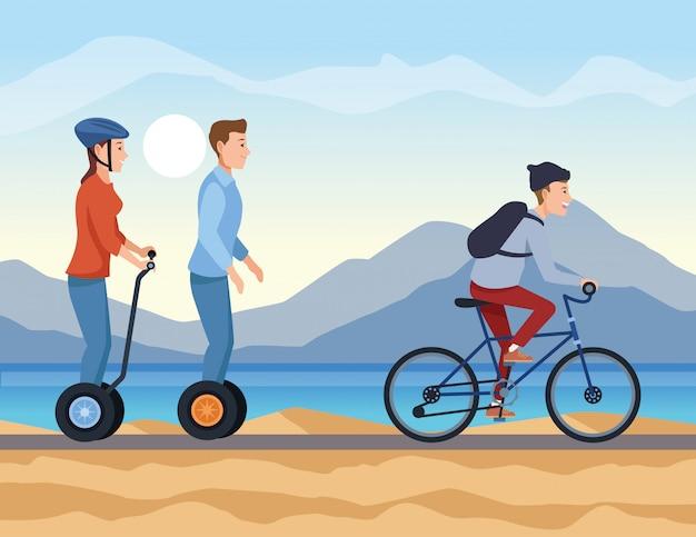 Люди с транспортными средствами