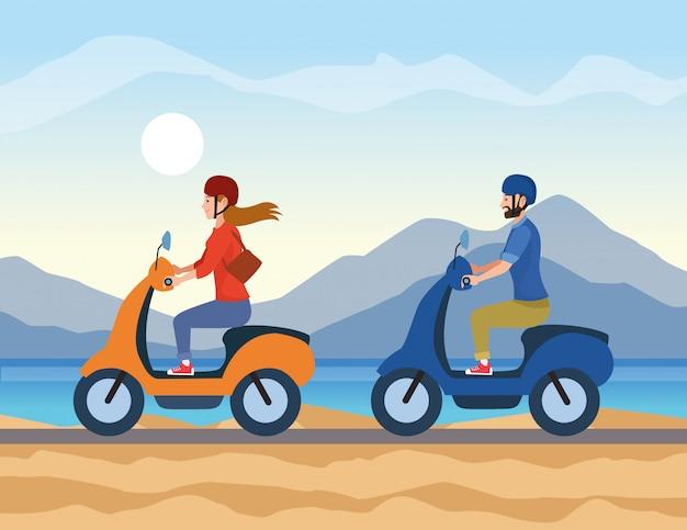 Люди за рулем мотоцикла