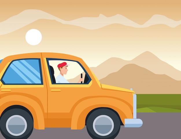 Человек за рулем автомобиля