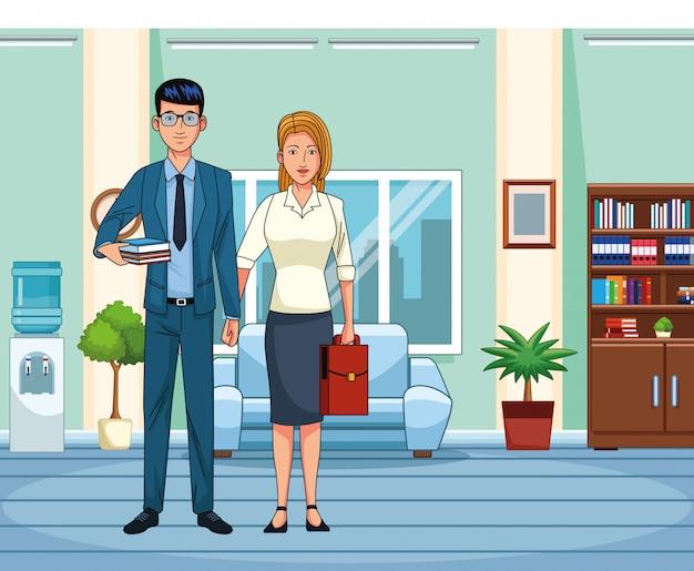Мультфильм бизнес пара в офисе декорации