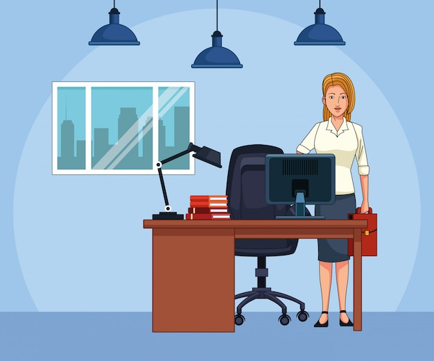 オフィスの机で漫画実業家