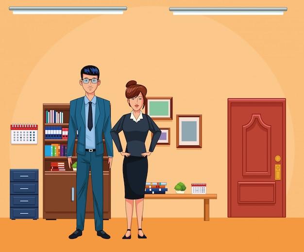 ビジネスマンおよびオフィス風景の背景で秘書