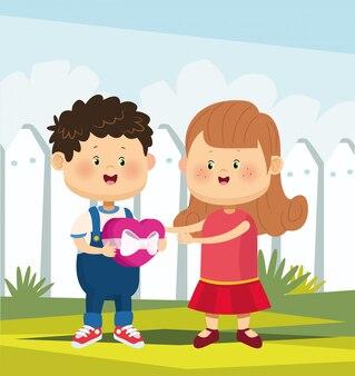漫画かわいい女の子と白いフェンスホワイトハートチョコレートハートを保持している愛の少年