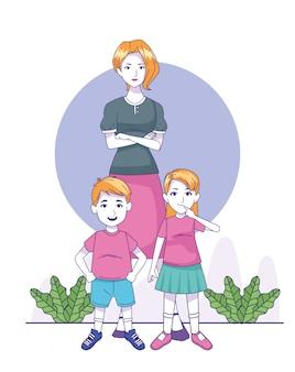 Мультфильм женщина с маленькими детьми стоя