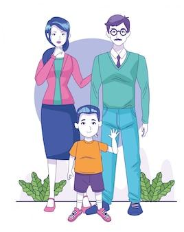 Счастливый мужчина и женщина с маленьким мальчиком значок