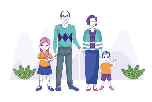 立っている小さな子供たちと漫画の祖父母
