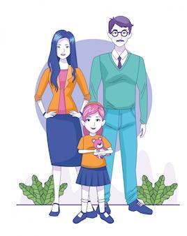 Счастливая женщина и мужчина с маленькой девочкой стоя