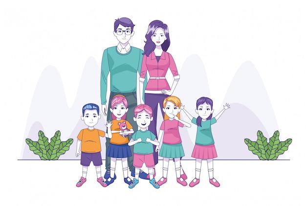 小さな子供たちと幸せな家族