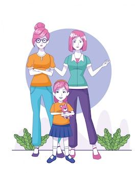 Мультфильм женщины и маленькая девочка, стоя