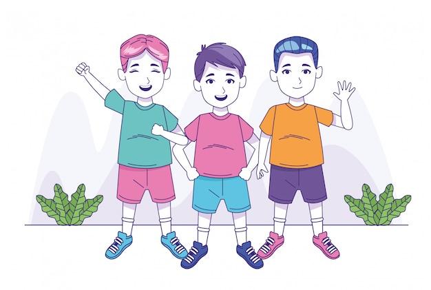 Счастливые мальчики, стоящие значок
